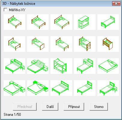 3D knihovny nábytku ložnice